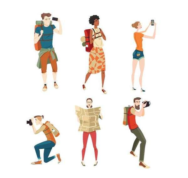 Travel people illustration vector set 02