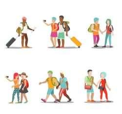 Travel people illustration vector set 03