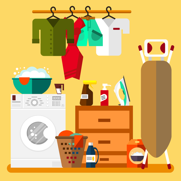 Laundry room design vector