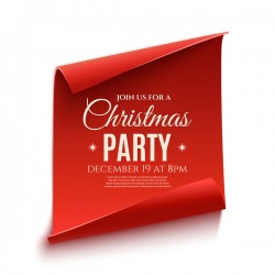 Red paper banner with christmas party poster vector 02