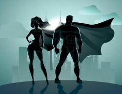 Superman and woman design vector 05