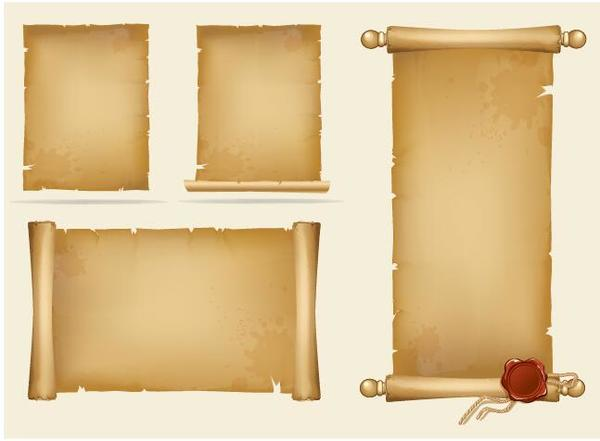 Vintage paper scrolls banners vector 01
