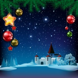 Christmas greeting card with panorama of city vector 07