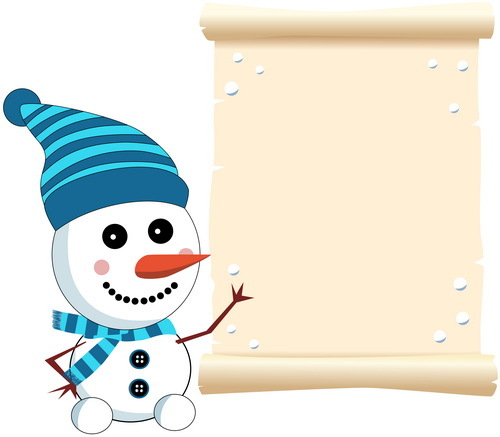 Cute snowman with paper scrolls background vector