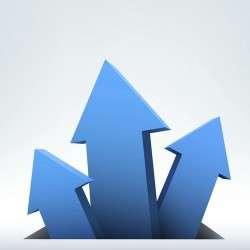 3D blue arrow background vector 03