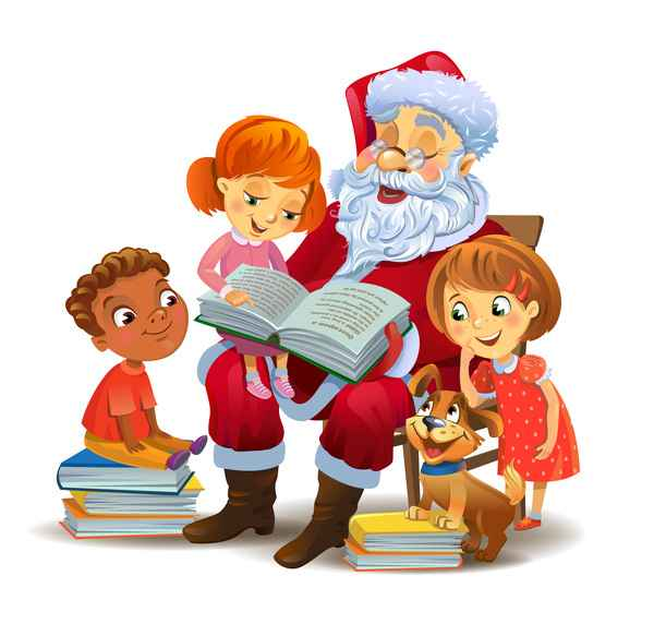 Santa claus with kids and book vector