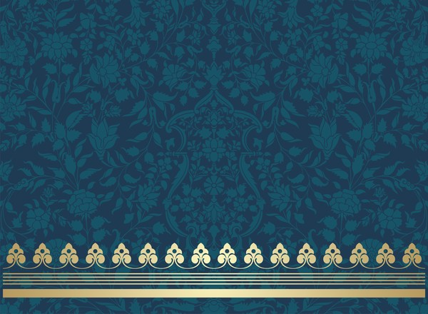Vintage decorative pattern with floral seamless border vector 01