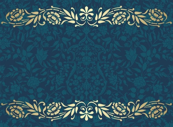 Vintage decorative pattern with floral seamless border vector 04