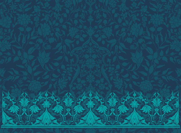 intage decorative pattern with floral seamless border vector 15