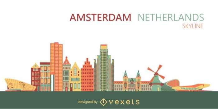 Amsterdam city skyline