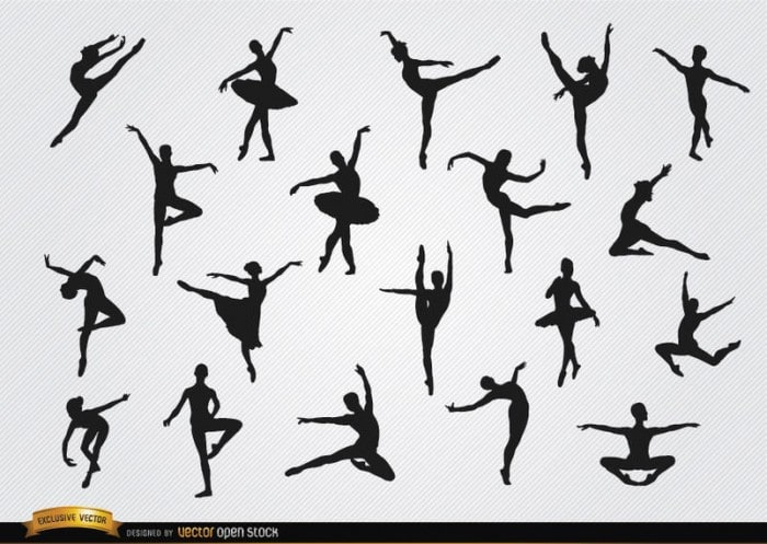 Ballet dancer silhouettes set