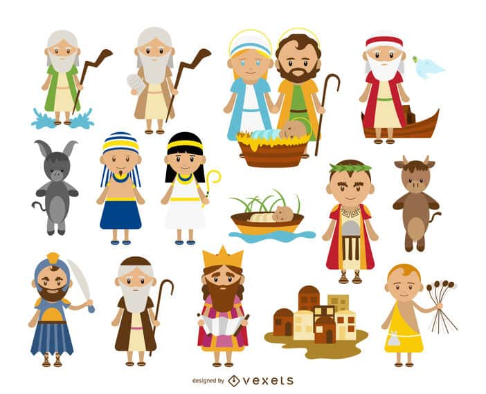 Biblical characters cartoon collection