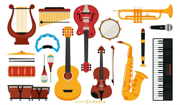 Big set of music instruments