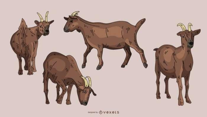 Brown Goat Illustration Set