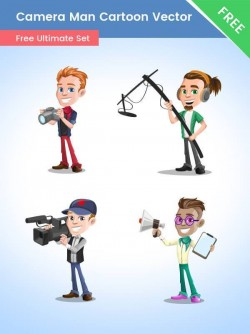 Cameraman Cartoon Vector Set