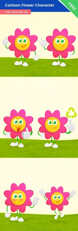 Cartoon Flower Vector Set