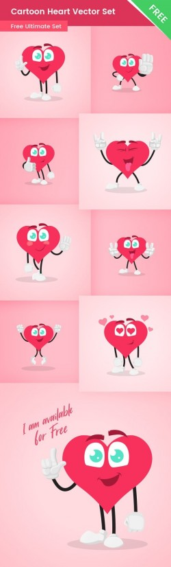 Cartoon Heart Vector Set