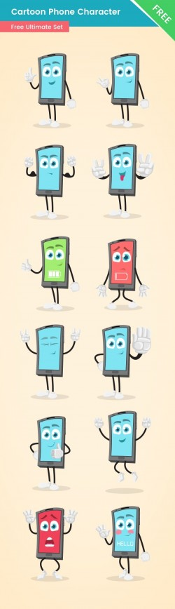 Cartoon Phone Character Set