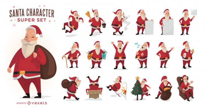 Cartoon Santa Claus illustrations set