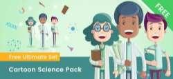 Cartoon Scientist Characters Set