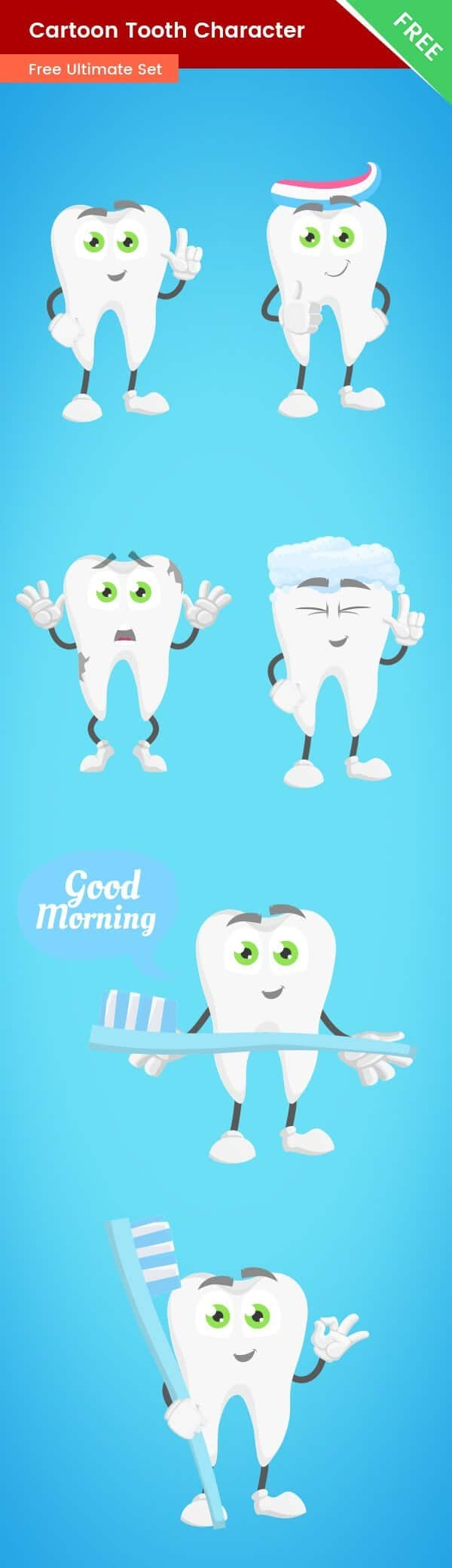 Cartoon Tooth Vector Set