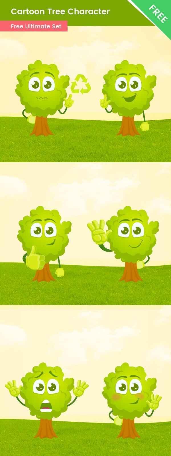Cartoon Tree Vector Set
