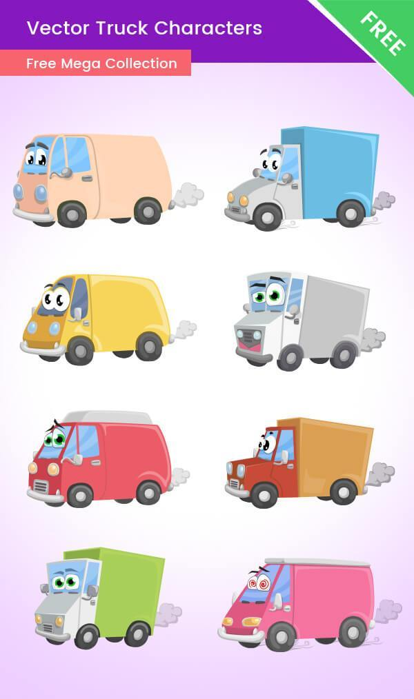 Cartoon Truck Vector Characters