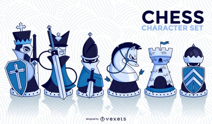 Chess character illustrated set