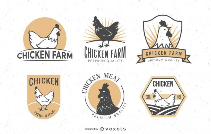 Chicken badges set