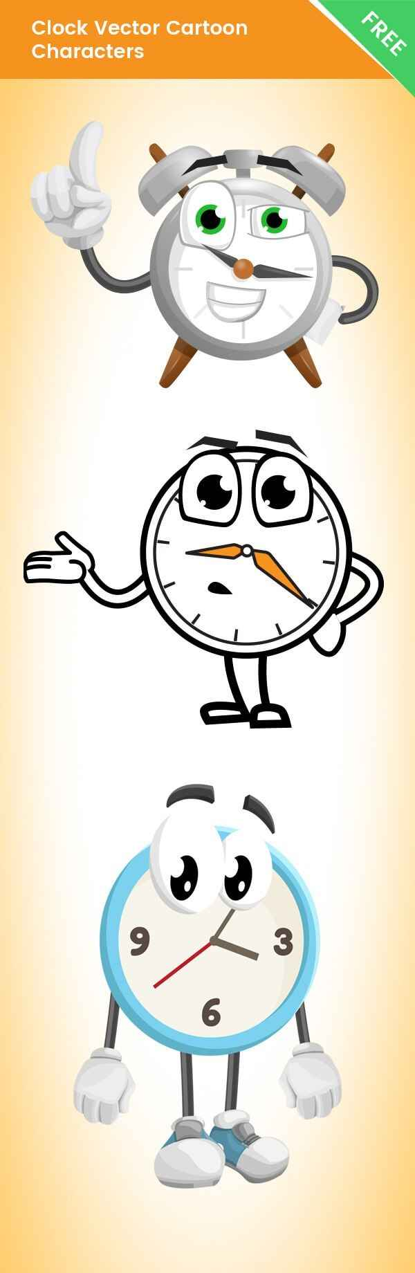 Clock Vector Cartoon Characters Free Set