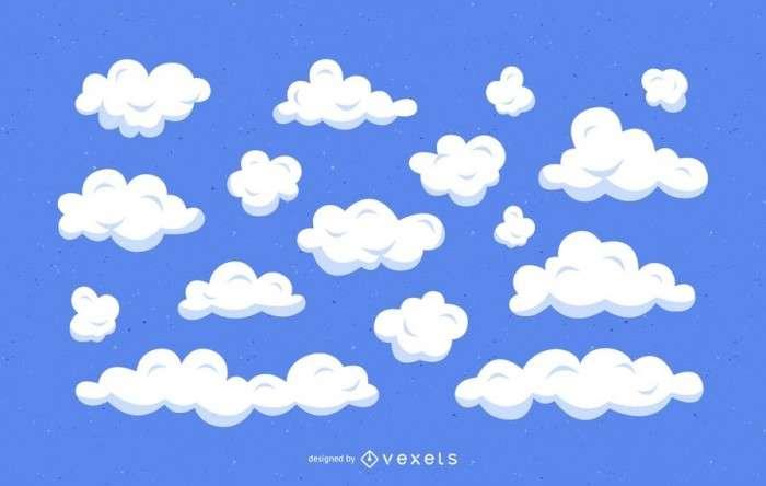 Clouds cartoon illustration set