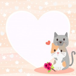 Cute cat couple in valentine theme background