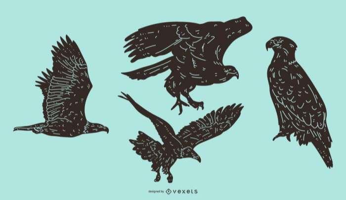 Eagle Detailed Silhouette Set