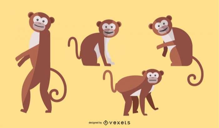 Flat Monkey Illustration Set