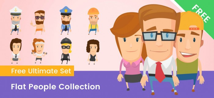 Flat People Characters Vector Collection