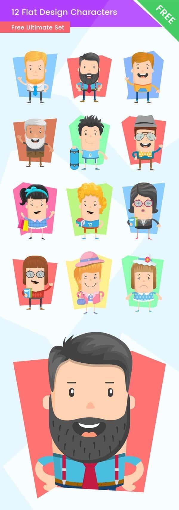 Free Flat Design Characters Ultimate Set