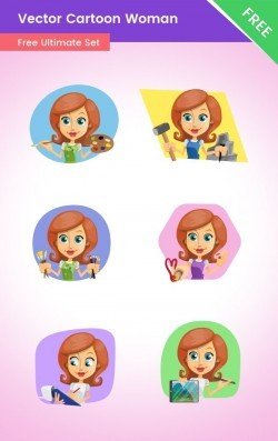 FREE Vector Cartoon Woman Set