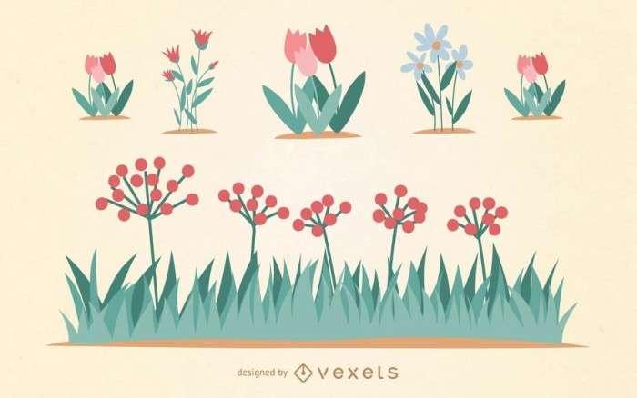 Garden Flower Vector Set