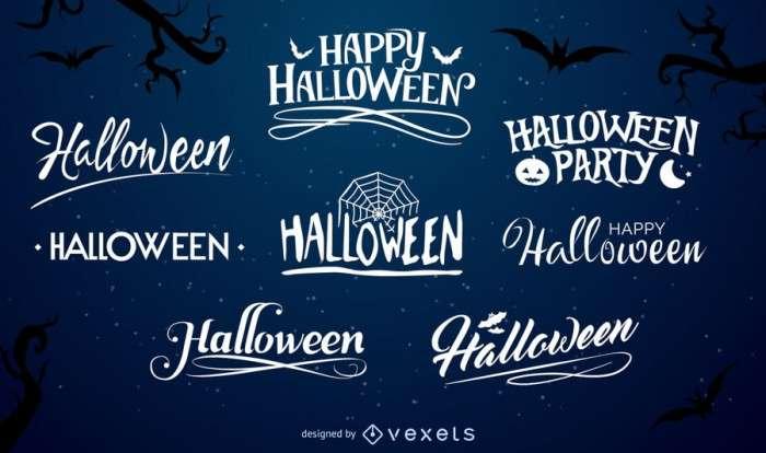 Halloween typography label set