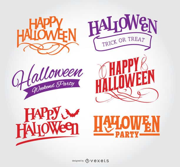 Happy Halloween emblem Set