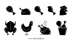 Isolated chicken icon set