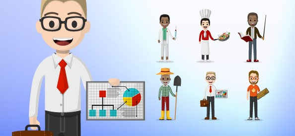 Job Male Character Vector Set
