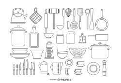 Kitchen tools stroke set