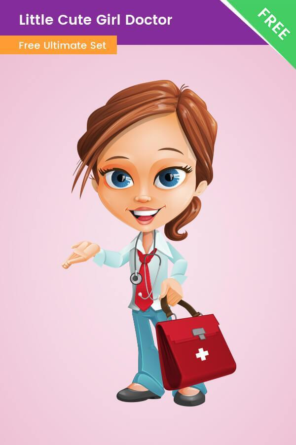 Little Cute Girl Doctor Clipart