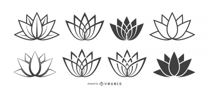 Lotus flower icons set