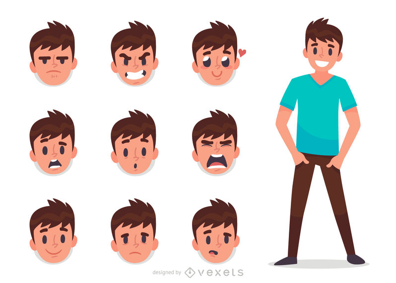 Man facial expression set