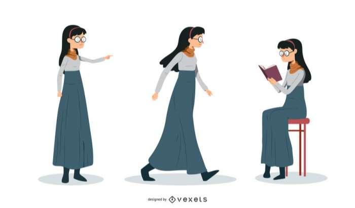 Nerd Woman Illustration Set