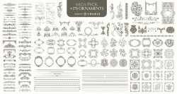 170 Ornaments Mega Pack: Dividers, frames, corners, borders