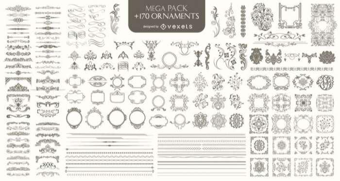 170 Ornaments Mega Pack: Dividers, frames, corners, borders
