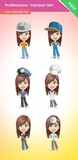 Professions: Cartoon Vector Girl Set